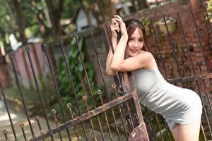 Fonds d'écran Asiatiques Clôture Posant Les robes Aux cheveux bruns Portail Filles