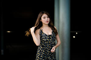 Fotos Asiatische Pose Kleid Hand Braunhaarige Blick Mädchens