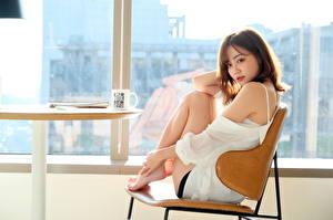 Fotos Asiaten Fenster Stühle Sitzt Posiert Braune Haare