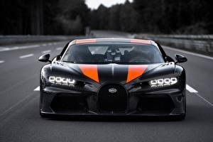 Desktop hintergrundbilder BUGATTI Vorne Schwarz Chiron Super Sport 300 auto