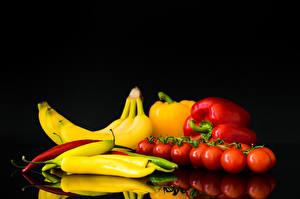 Hintergrundbilder Paprika Bananen Tomate Chili Pfeffer Lebensmittel