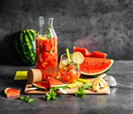 Bilder Beere Wassermelonen Saft Weckglas Trinkglas Geschnitten
