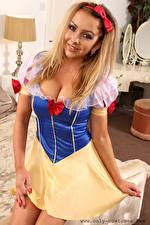 Image Bethany M Only Snow White costume Blonde girl Bow knot Staring Smile Hands Uniform young woman