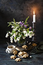 Photo Bouquets Candles Cookies Coffee Still-life Cup Food