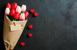 Bilder Blumensträuße Tulpen Herz Vorlage Grußkarte Blüte