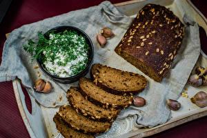 Fotos Brot Knoblauch Dill Saure Sahne Lebensmittel