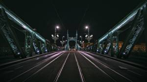 Pictures Bridge Hungary Budapest Night time Cities