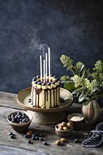 Bureaubladachtergronden Taart Kaarsen Bosbessen Chocolade spijs