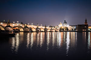 Pictures Charles Bridge Prague Czech Republic River Bridge Night Vltava river