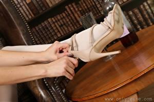 Sfondi desktop Da vicino Braccia Le gambe Scarpe con tacco Collant ragazza