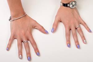 Papel de Parede Desktop De perto Relógio de pulso Dedos da mão Fundo cinza Anel Manicuro Meninas