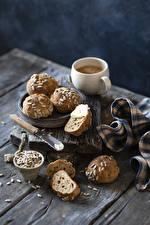 Picture Coffee Buns Sunflower seed Wood planks Mug Food