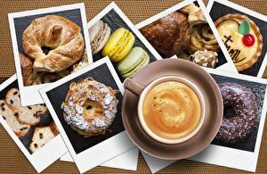 Bakgrunnsbilder Kaffe Cappuccino Croissant Bakeri produkter Tekopp Makroner Mat