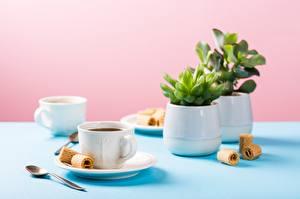 Bilder Kaffee Kekse Bokeh Tisch Tasse Löffel das Essen