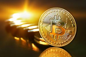 Picture Coins Bitcoin Gold color