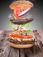 Picture Creative Hamburger Frikadeller Tomatoes Vegetables Boards Food