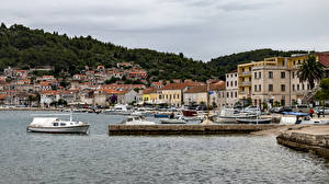 Pictures Croatia Coast Houses Pier Speedboat Vera Luka Cities