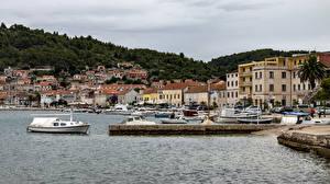 Pictures Croatia Coast Houses Pier Speedboat Vera Luka Cities