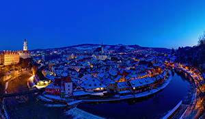 Pictures Czech Republic Houses River Bridge Winter Night From above Krumlov Cities