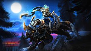 Bilder DOTA 2 Magische Tiere Krieger Luna Spiele Mädchens