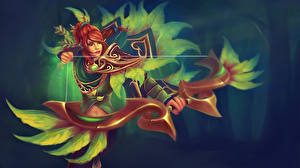 Wallpapers DOTA 2 Windrunner Warrior Archers Elf Redhead girl Bow weapon vdeo game Fantasy Girls