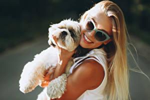 Bilder Hund Blondine Lächeln Brille Welpen junge frau