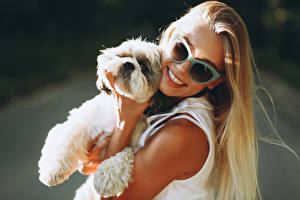 Picture Dog Blonde girl Smile Eyeglasses Puppies young woman