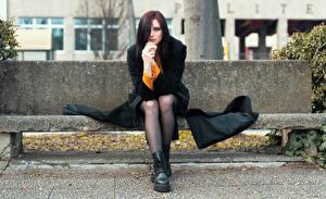 Wallpapers Bench Sit Legs Overcoat Hands Staring Elisa young woman