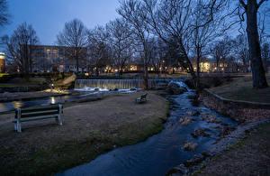 Bilder England Haus Fluss Wasserfall Abend Park Bank (Möbel) Milford Städte