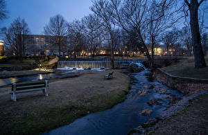 桌面壁纸,,英格兰,房屋,河流,瀑布,傍晚,公园,长凳,Milford,