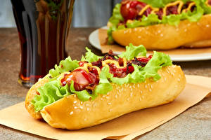 Fotos Fast food Hotdog Gemüse