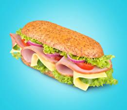 Hintergrundbilder Fast food Sandwich Wurst Gemüse Farbigen hintergrund