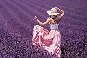 Picture Fields Lavender Blonde girl Hat Back view Hands Frock young woman