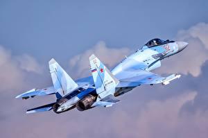 Hintergrundbilder Flugzeuge Jagdflugzeug Russischer Suchoi Su-35 Luftfahrt