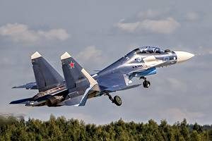 Picture Airplane Fighter Airplane Sukhoi Su-30 Takes off Russian Su-30SM Aviation