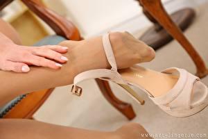 Fotos Finger Großansicht Bein Stöckelschuh Strumpfhose junge Frauen