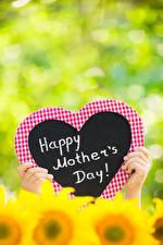 Desktop hintergrundbilder Finger Muttertag Bokeh Herz Englisches Text