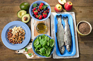 Image Fish - Food Avocado Apples Strawberry Blueberries Nuts Filbert nut Boards Cutting board Plate Basil