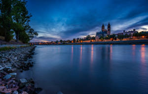 Bilder Deutschland Gebäude Fluss Abend Magdeburg
