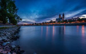 Bilder Deutschland Gebäude Fluss Abend Magdeburg Städte