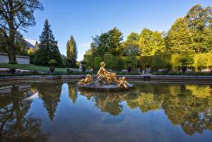 Hintergrundbilder Deutschland Parks Teich Skulpturen Design Bäume Strauch Linderhof Palace park