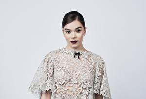Pictures Hailee Steinfeld Gray background Dress Makeup Hairstyle Staring Celebrities Girls