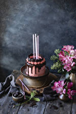 Pictures Holidays Still-life Torte Chocolate Candles Design Food