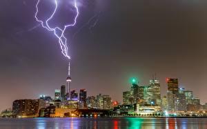 Fotos Gebäude Toronto Kanada Nacht Blitze Türme Städte