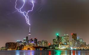 Photo Building Toronto Canada Night time Lightning bolts Towers Cities