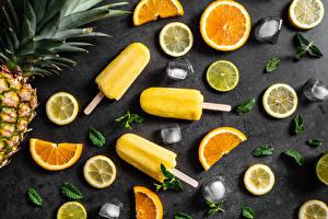 Fotos Speiseeis Zitronen Apfelsine Eis Geschnittenes