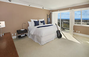Wallpaper Interior Design Bedroom Bed Guitar Pillows
