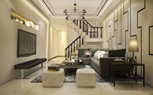 Bilder Innenarchitektur Fernsehgerät Tisch Sofa Kissen Treppen Lüster Zimmer Wohnzimmer Design