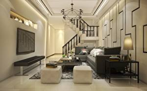 Pictures Interior TV set Table Sofa Pillows Staircase Chandelier Room Lounge sitting room Design 3D Graphics