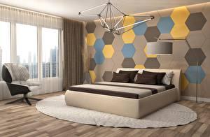 Fotos Innenarchitektur Fenster Sessel Wände Lampe Bett Schlafkammer Design 3D-Grafik